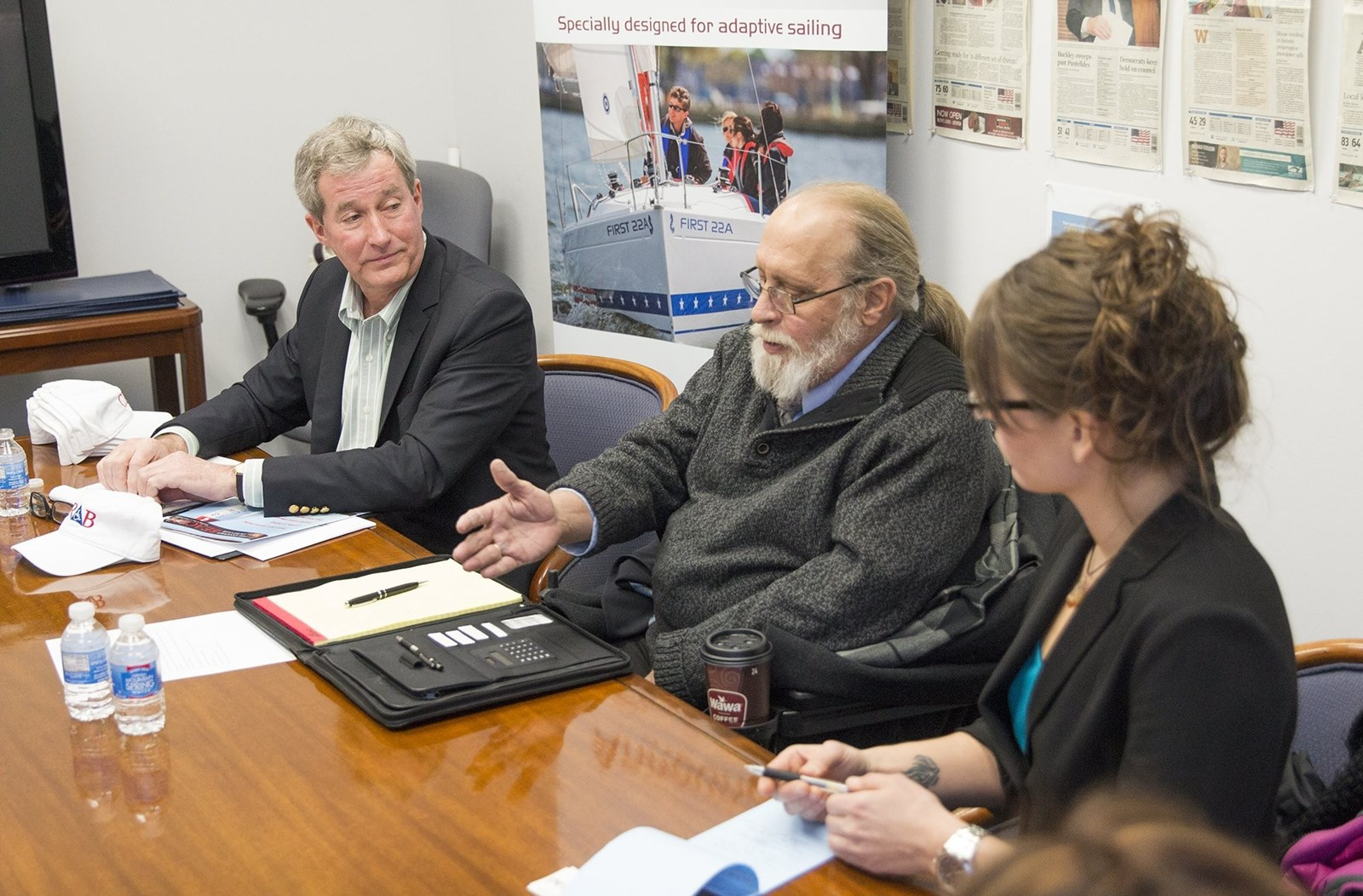 Paul Bollinger, Barry Considine and Sarah Winchester speak with the Capital Gazette Editorial Board on Thursday, February 8 about plans for a new accessible boating center on Back Creek.)